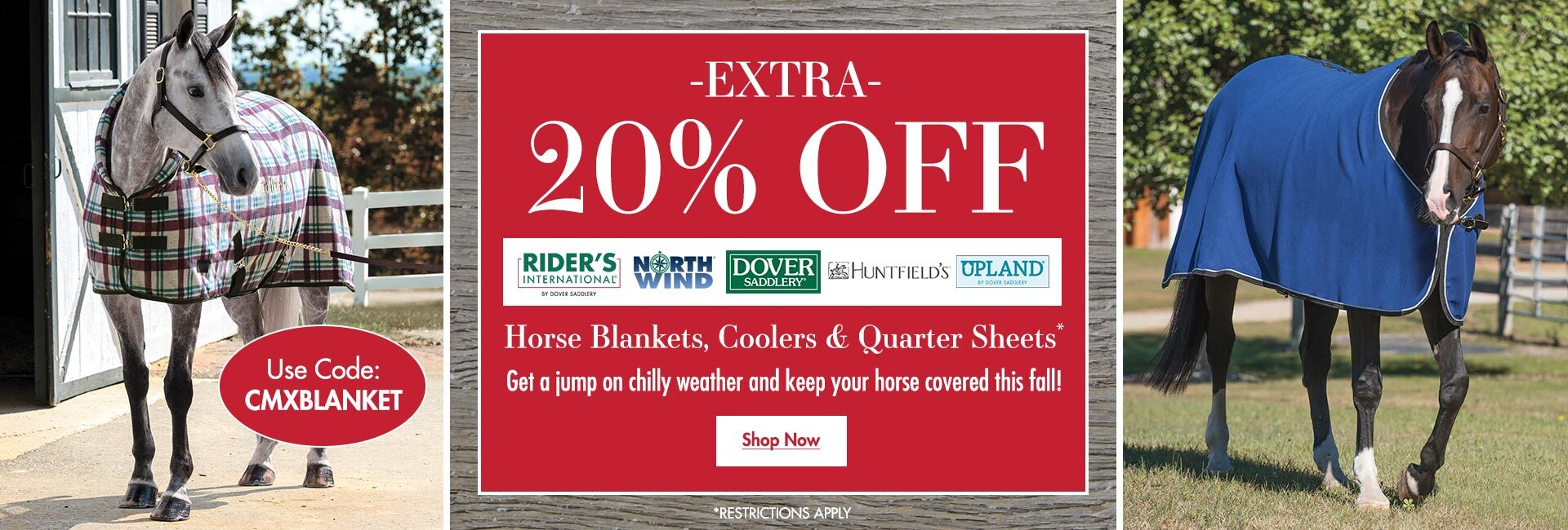 Extra 20% OFF Turnout Sheets, Stable Sheets, Coolers & Quarter Sheets - Use Code CMXBLANKET
