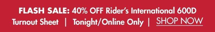 Flash Sale: 40% OFF Rider's International 600D Turnout Sheet