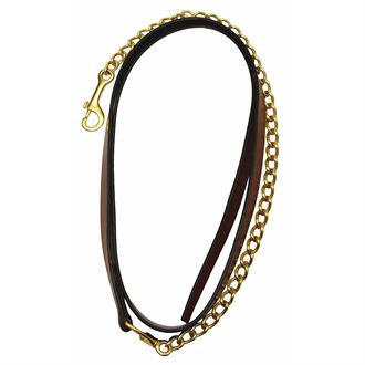 """Henri De Rivel Pro Collection Leather Lead with 24"""" Solid Brass Chain"""