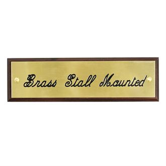 Stall Plate Mounted on Walnut Plaque- 3 Lines