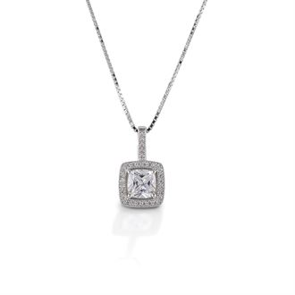 Kelly Herd Square Bezel Set Pavé Necklace