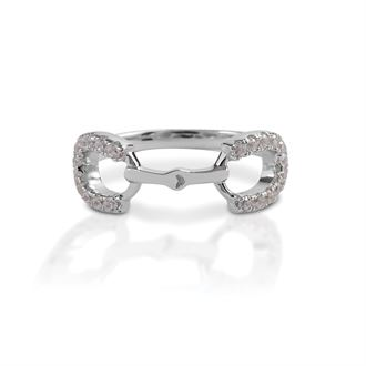 Kelly Herd Horseshoe Bit Ring with Clear Stones