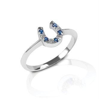 Kelly Herd Blue & Clear Stone Horseshoe Ring