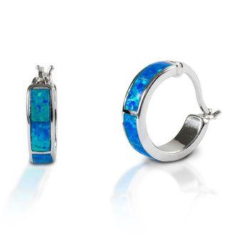Kelly Herd Blue Opal Hoop Earrings