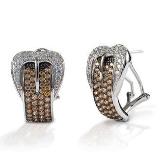 Kelly Herd Cognac Buckle Earrings