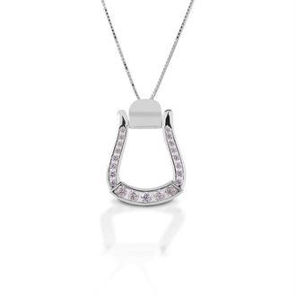 Kelly Herd Clear Stone Oxbow Stirrup Necklace