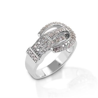 Kelly Herd Clear Pavé Buckle Ring
