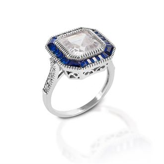 Kelly Herd Large Asscher Cut Blue Spinel Ring