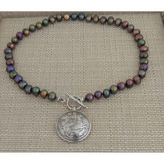 Greek Moon Goddess & Pearls Pendant