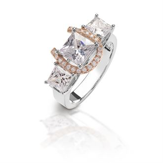 Kelly Herd Three-Stone Ring with Rose Gold Horseshoe