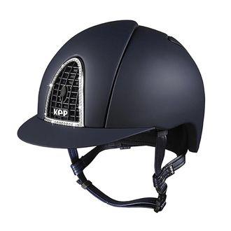 KEP Italia® Cromo Textile Blue Helmet** with Chrome Grid & Swarovsky® Crystals
