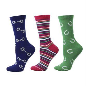 Dover Saddlery® Ladies' Three-Pack Crew Socks