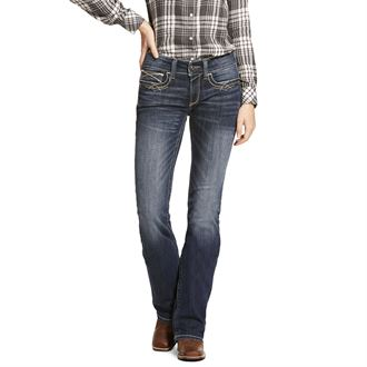 Ariat® Ladies' R.E.A.L. Mid-Rise Stretch Entwined Boot Cut Jean in Festival Blue