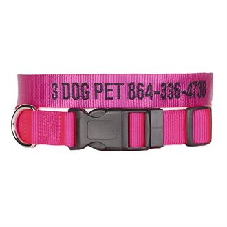 "3 Dog Pet Supply 1"" Wide Personalized Adjustable Dog Collar"