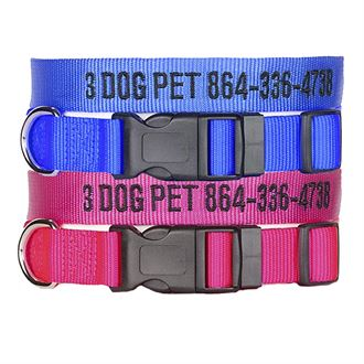"3 Dog Pet Supply 1"" Wide Personalized Dog Collar Combo - 2"