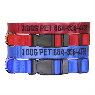 """3 Dog Pet Supply 1"""" & 3/4"""" Wide Personalized Dog Collar Combo - One of Each"""