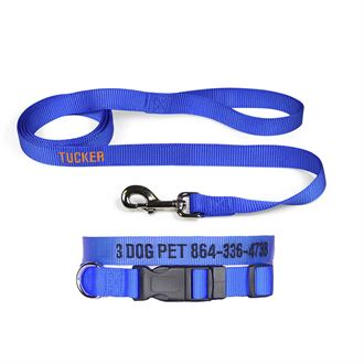 """3 Dog Pet Supply 3/4"""" Wide Personalized Dog Collar with Lead Combo"""