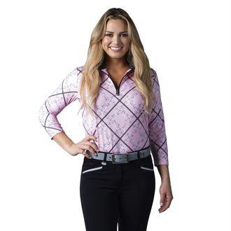 SanSoleil™ Ladies' SolCool® Three-Quarter Sleeve Zip Mock Neck Shirt