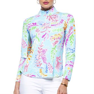 IBKUL™ Ladies' Print Long Sleeve Mock Neck Top