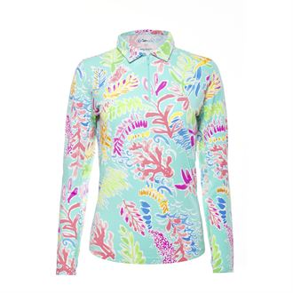 IBKUL™ Print Long Sleeve Polo Neck Top