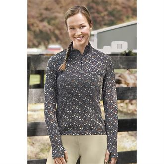 Dover Saddlery® Ladies' Cascade Tech Print Quarter-Zip Top