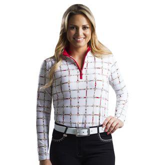 SanSoleil™ Ladies' SolTek ICE® Long Sleeve Mock Neck Print Top