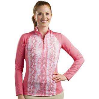 SanSoleil™ SolTek ICE® Long Sleeve Print Panel Mock Neck Top