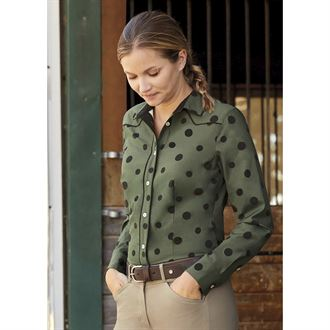 Dover Saddlery® Ladies' Button-Down Polka Dot Tech Shirt
