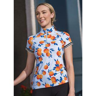 Kastel Denmark Ladies' Orange Print Cap Sleeve Shirt