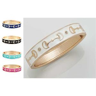 Enamel Snaffle Bit Bracelet with Crystals