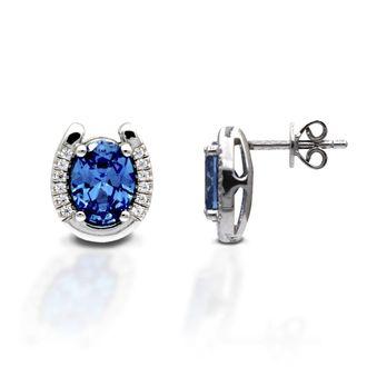 Kelly Herd Sterling Silver Blue Stone Horseshoe Earrings