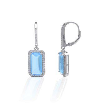 Kelly Herd Aqua Halo Sterling Silver Earrings
