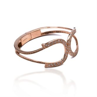 Kelly Herd Rose Gold-Plated Double Horseshoe Bangle Bracelet in Sterling Silver
