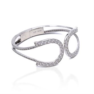 Kelly Herd Double Horseshoe Sterling Silver Bangle Bracelet