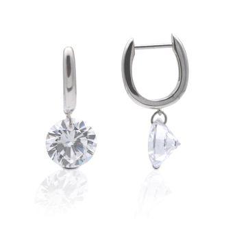Kelly Herd Clear Stone Naked Sterling Silver Earrings - 3Ct