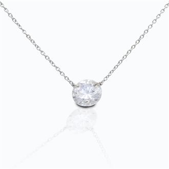 Kelly Herd Clear Stone Naked Sterling Silver Pendant - 3Ct