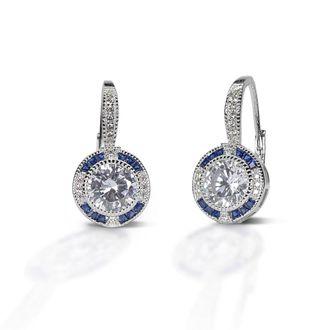 Kelly Herd Blue Spinel Halo Sterling Silver Earrings