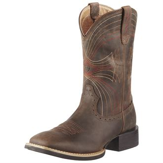 Ariat® Men's Sport Wide Square Toe Western Boots in Distressed Brown