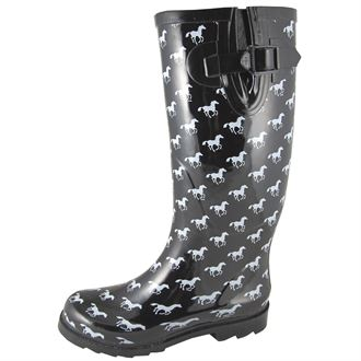 Smoky Mountain Ladies' Black Rubber Boots with White Ponies