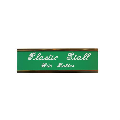 Plastic Stall Plate with Holder - 2 lines