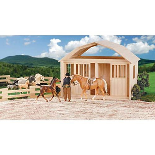 Breyer model horse two stall wooden barn dover saddlery for 2 stall horse barn