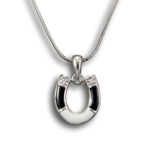 Kelly Herd Black & White Horseshoe Necklace