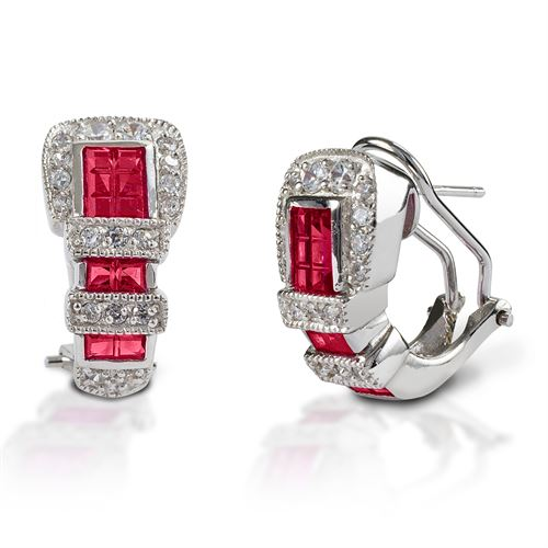 Kelly Herd Red Ranger Style Buckle Earrings