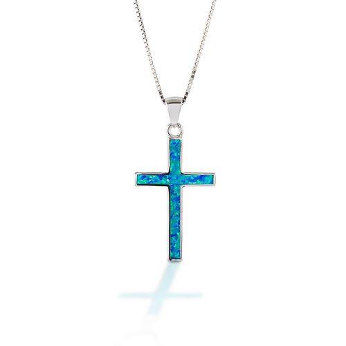 Kelly Herd Blue Opal Cross Pendant Necklace