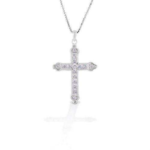 Kelly Herd Clear Cross Necklace