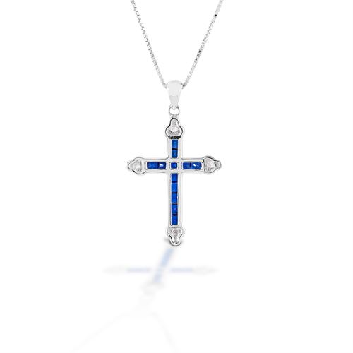 Kelly Herd Blue Cross Necklace