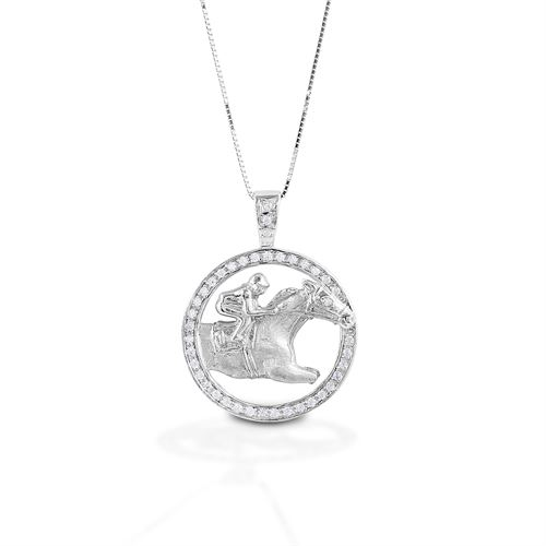 Kelly Herd Circle Race Horse Necklace