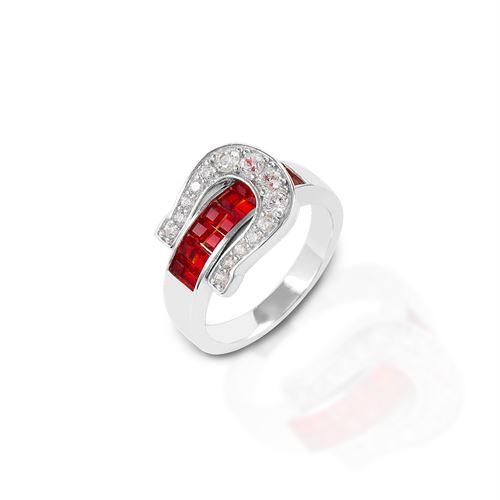 Kelly Herd Red Contemporary Buckle Ring