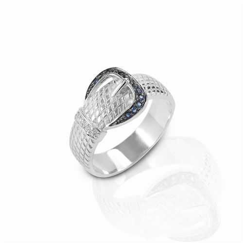Kelly Herd Blue & Clear Rope Buckle Ring