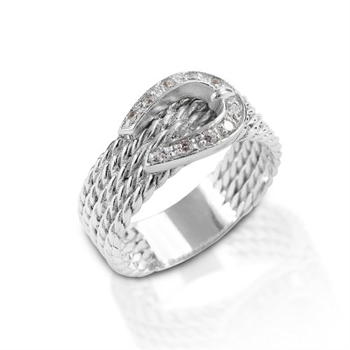 Kelly Herd Clear Rope Buckle Ring